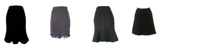 Atelier-Samstag: Wolle/Walk Röcke mit Godet, Organza-Rüsche oder Franse