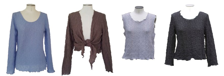 Baumwoll Struktur-Shirts: Langshirt, Wickeljäckchen, Top und Kurzshirt