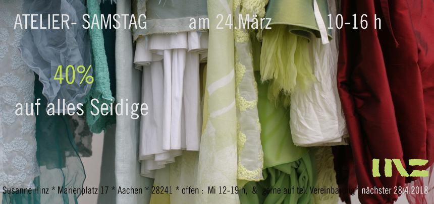 Atelier-Samstag am 24.03.2018 - 40 Prozent auf alles Seidige