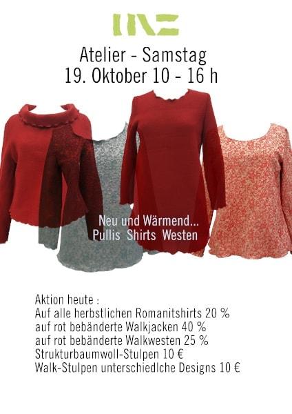 Atelier-Samstag am 19. Oktober 2019 - Wärmend... Pulls &Shirts - Aktionspreise