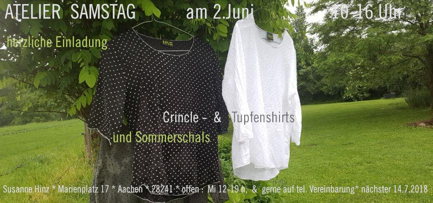 Atelier-Samstag am 2. Juni 2018 - Crincle- & Tupfenshirts