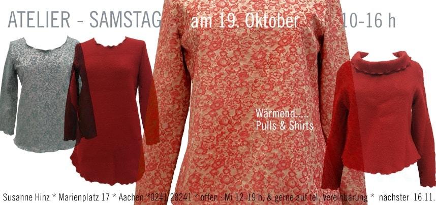 Atelier-Samstag am 19. Oktober 2019 - Wärmend... Pulls &Shirts