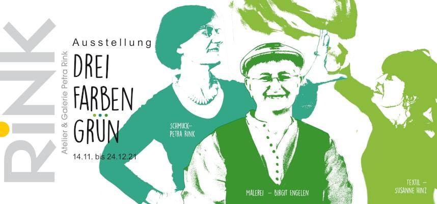 Drei Farben Grün - Einladung Vorderseite