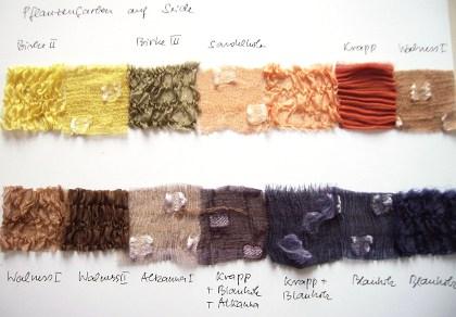 Naturfarben Farbkarte