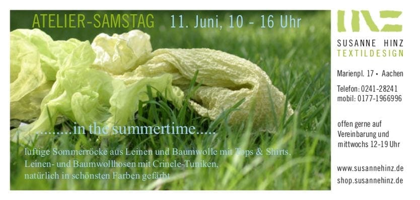 Atelier-Samstag am 11. Juni 2016 - ...in the summertime...