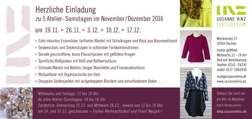 Einladung Atelier-Samstage Dezember 2016 - Rückseite